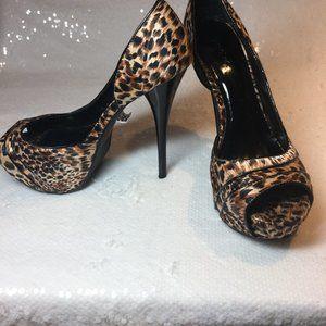 QUPID  Leopard Print Silk Material Open Toe